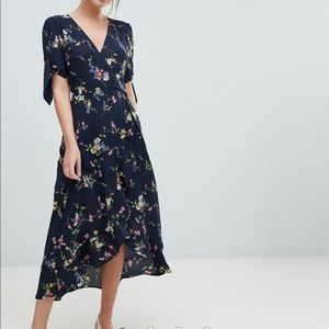 ASOS Oasis Floral Print Ruffle Hem Wrap Midi Dress